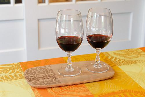 Alessi Dressed Wood Tray, Alessi Dressed Red Wine Glasses, Garnier-Thiebaut coated cotton tablecloth