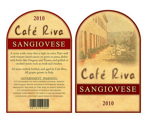 Cafe Riva Red Wine Labels