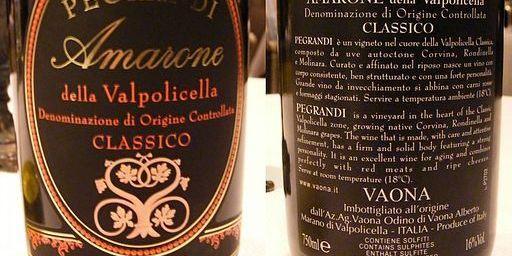 Front and back label of Amarone della Valpolicella