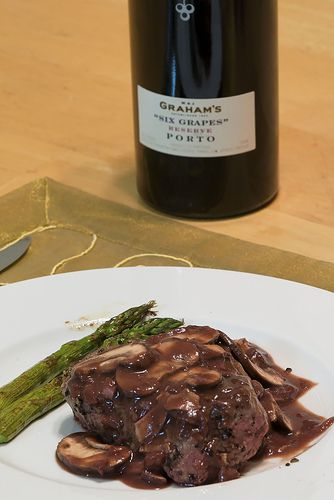 Pepper Steak with Port Wine Mushroom Sauce and Roasted Asparagus with Balsalmic Browned Butter